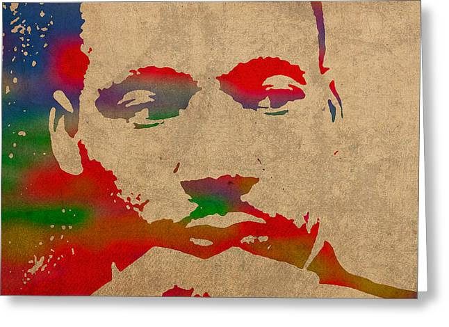 Martin Luther King Jr Watercolor Portrait on Worn Distressed Canvas Greeting Card by Design Turnpike