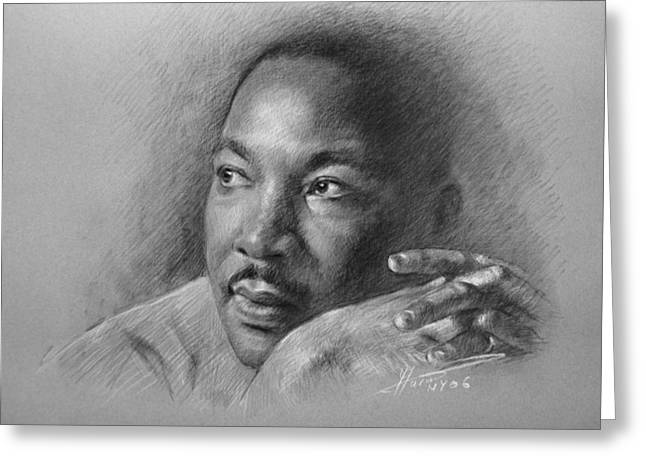 Martin Luther King Jr. Greeting Cards - Martin Luther King Jr Greeting Card by Ylli Haruni