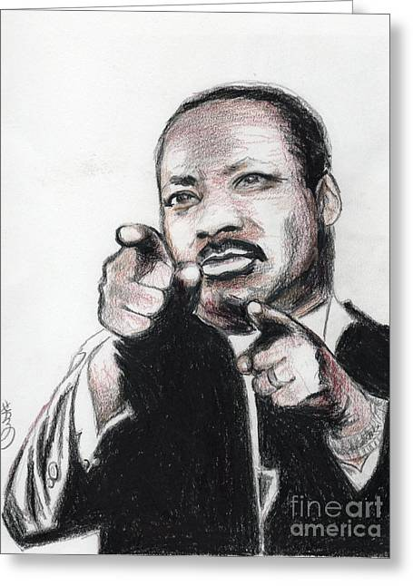 Famous African Americans Drawings Greeting Cards - Martin Luther King Jr Greeting Card by Yoshiko Mishina