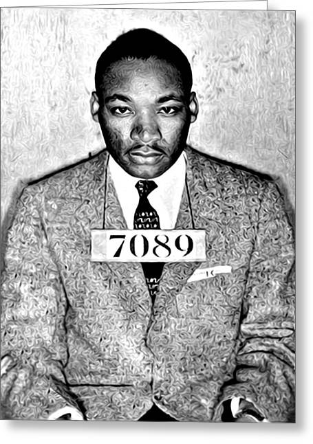Martin Luther King Mugshot Greeting Card by Bill Cannon