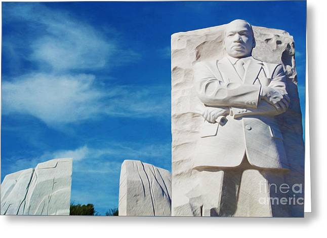 Civil Greeting Cards - Martin Luther King Memorial Greeting Card by Laura D Young