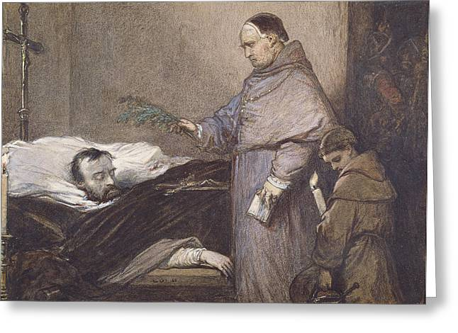 Statesman Greeting Cards - Martin Rithone Blessing The Body Of The Count Of Egmont Wc On Paper Greeting Card by Louis Gallait