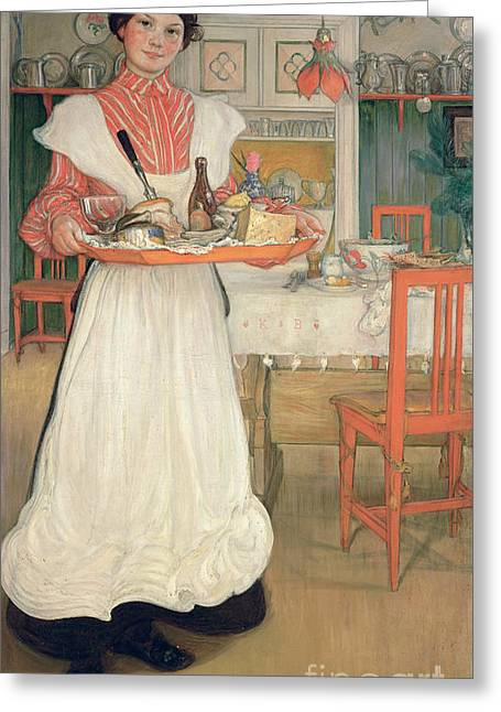 Apron Greeting Cards - Martina Carrying Breakfast on a Tray Greeting Card by Carl Larsson
