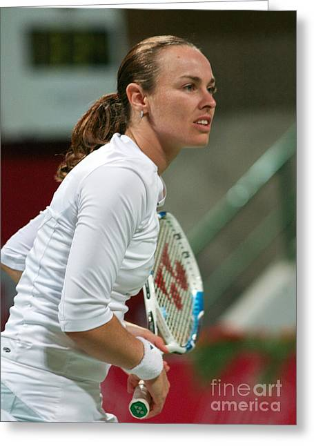 Tennis Champion Greeting Cards - Martina Hingis in Doha Greeting Card by Paul Cowan