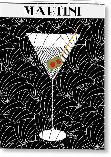 Bartender Drawings Greeting Cards - 1920s Martini Cocktail Art Deco Swing   Greeting Card by Cecely Bloom