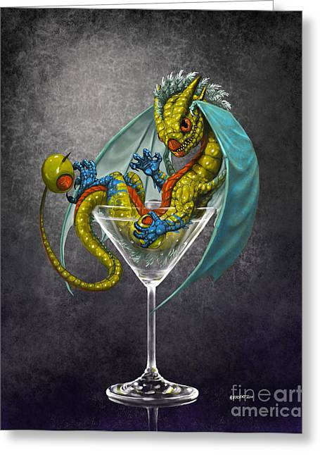 Martini Dragon Greeting Card by Stanley Morrison