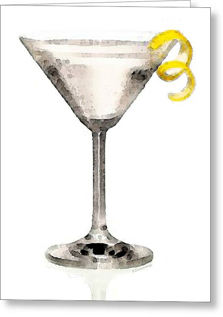 Martini Greeting Cards - Martini Glass Art - Just Dry Greeting Card by Sharon Cummings