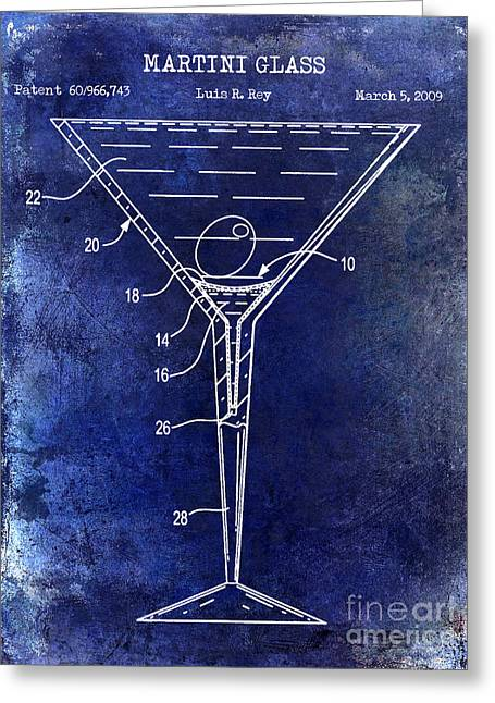 Mixed Drink Greeting Cards - Martini Glass Patent Drawing Blue Greeting Card by Jon Neidert