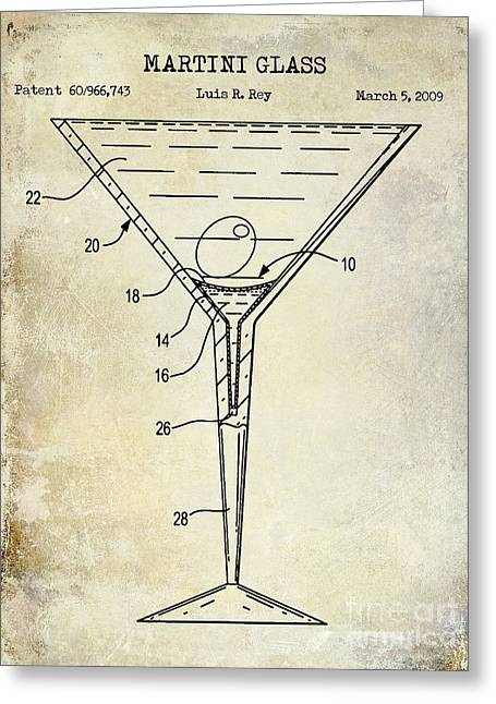 Mixed Drink Greeting Cards - Martini Glass Patent Drawing Greeting Card by Jon Neidert