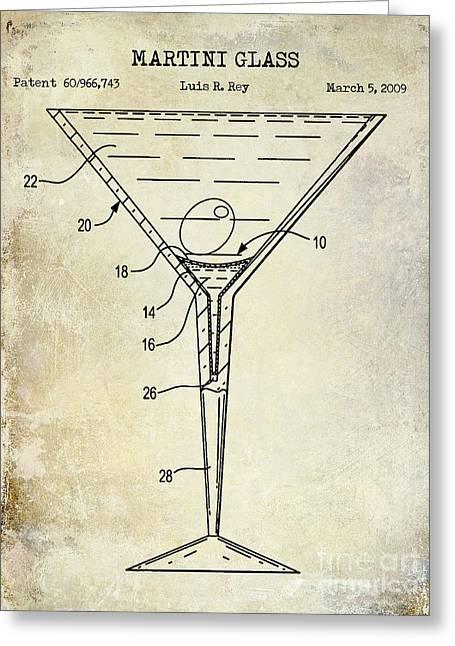 Martini Glass Greeting Cards - Martini Glass Patent Drawing Greeting Card by Jon Neidert