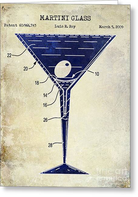Cocktails Greeting Cards - Martini Glass Patent Drawing Two Tone  Greeting Card by Jon Neidert