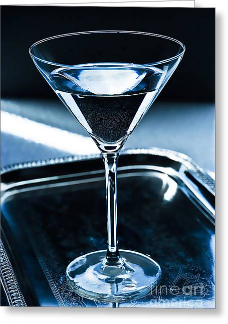 Glass.blue Greeting Cards - Martini Greeting Card by HD Connelly