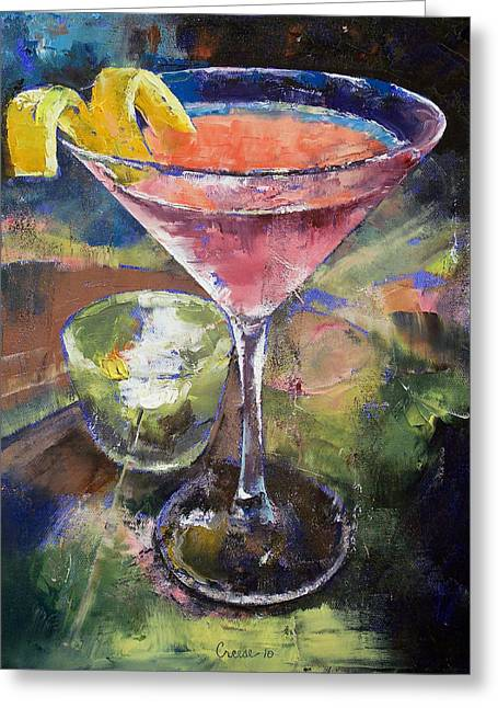 Cosmos Paintings Greeting Cards - Martini Greeting Card by Michael Creese