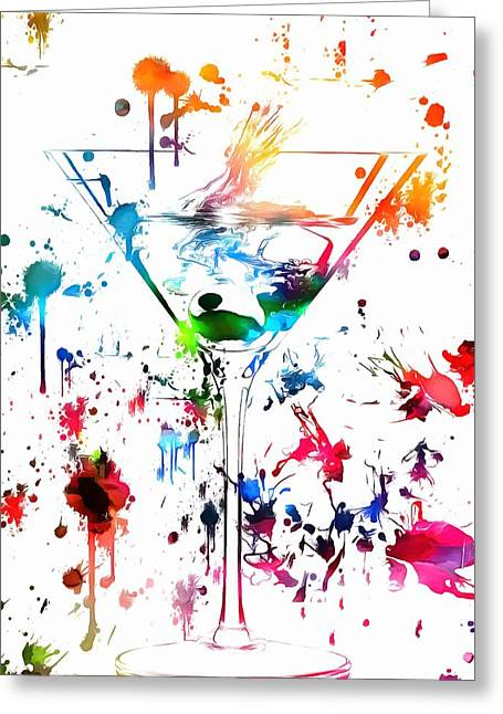 Stir Mixed Media Greeting Cards - Martini Paint Splatter Greeting Card by Dan Sproul