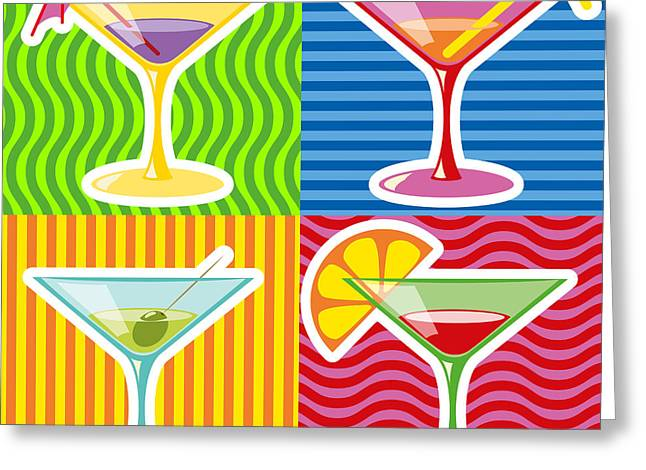 Wine-glass Greeting Cards - Martini Greeting Card by Volodymyr Horbovyy