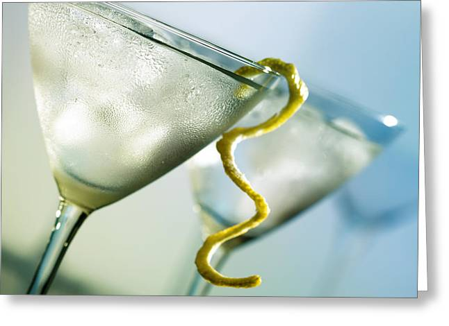 Alcoholic Greeting Cards - Martini with lemon peel Greeting Card by Johan Swanepoel