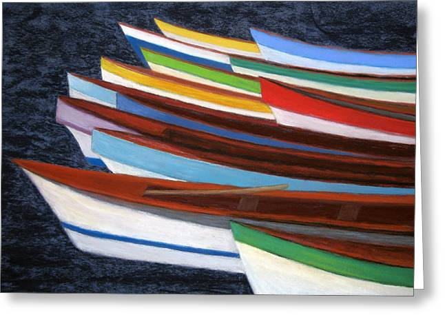 Fishing Boats Pastels Greeting Cards - Martinique Boats Greeting Card by Patricia Beebe