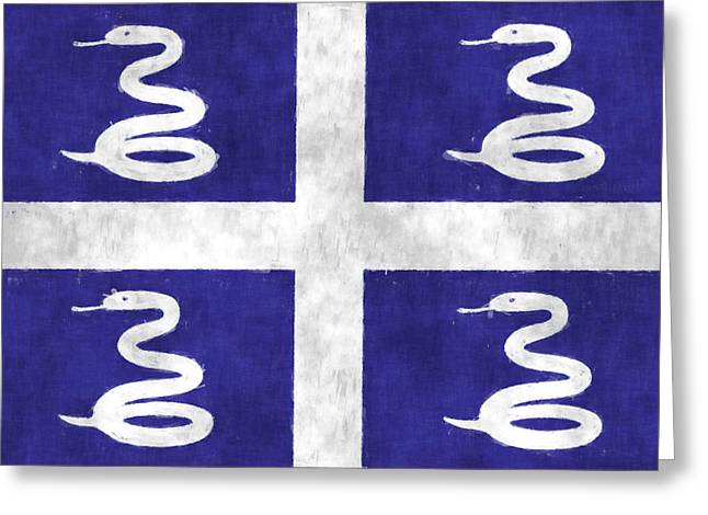 Snake Flag Greeting Cards - Martinique Flag Greeting Card by World Art Prints And Designs
