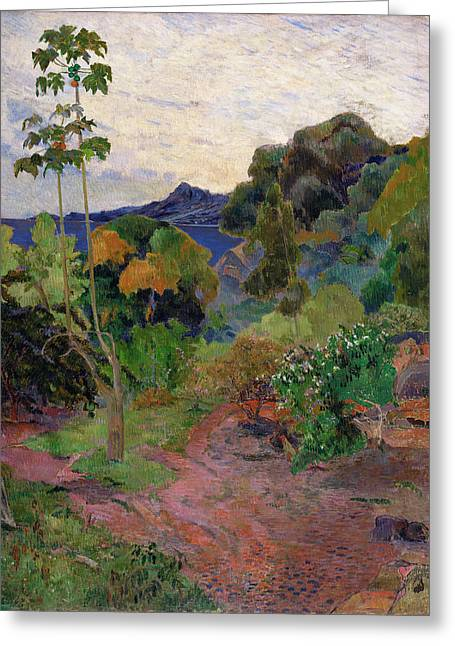 """tropical Trees"" Greeting Cards - Martinique Landscape, 1887 Oil On Canvas Greeting Card by Paul Gauguin"