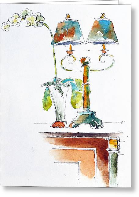 Lounge Paintings Greeting Cards - Martinis Lounge On The Regatta Greeting Card by Pat Katz