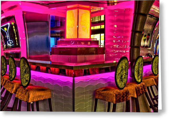 Neon Bar Stool Signs Greeting Cards - Martinis Greeting Card by Maria Coulson