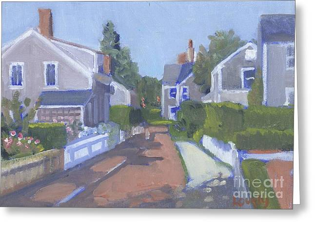 Brick Schools Paintings Greeting Cards - Martins Lane Greeting Card by Candace Lovely