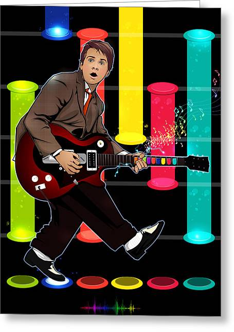 Dr. J Greeting Cards - Marty McFly plays Guitar Hero Greeting Card by Akyanyme