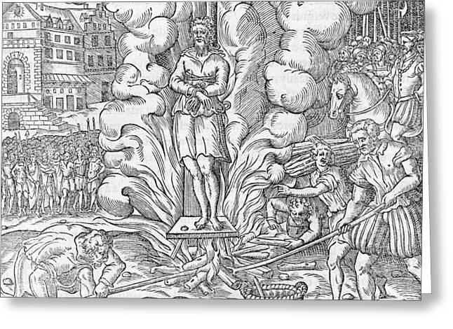Persecution Greeting Cards - Martyrdom of John Hooper, 1555 Greeting Card by Science Photo Library