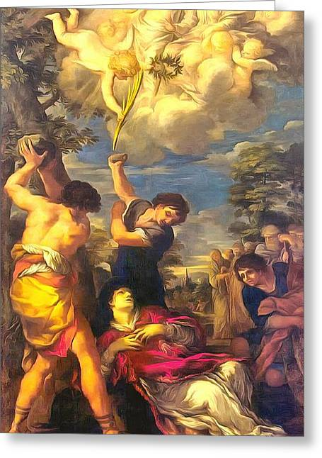 Religious Art Paintings Greeting Cards - Martyrdom of Saint Stephen Greeting Card by Pietro da Cortona