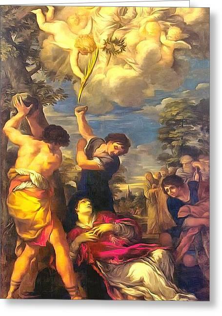Religious Paintings Greeting Cards - Martyrdom of Saint Stephen Greeting Card by Pietro da Cortona