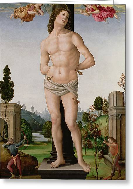 Martyrs Greeting Cards - Martyrdom Of St. Sebastian, C.1490-95 Greeting Card by Tommaso di Piero