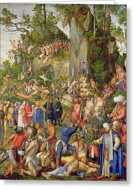 Mass Murder Greeting Cards - Martyrdom Of The Ten Thousand, 1508 Oil On Wood Transferred To Canvas Greeting Card by Albrecht Dürer or Duerer