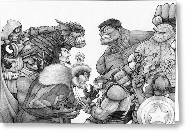 Marvel Group Greeting Card by Rui Guerreiro
