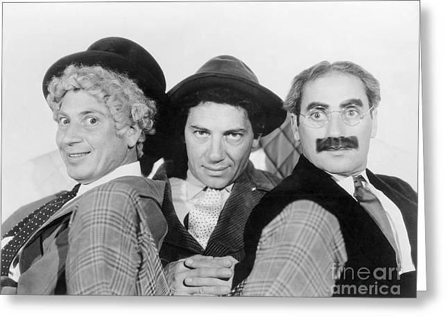 Marx Brothers Greeting Cards - Marx Brothers - A Night at the Opera - Groucho Harpo and Chico Marx Greeting Card by MMG Archive Prints