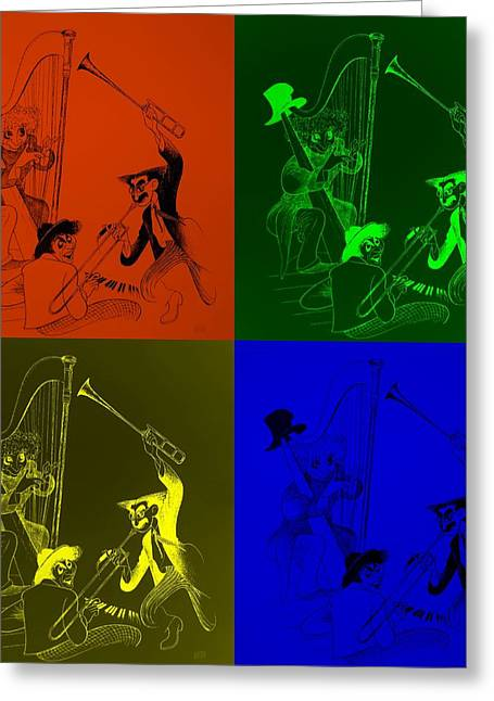 Groucho Marx Digital Art Greeting Cards - Marx Brothers Quad Colors I Greeting Card by Rob Hans