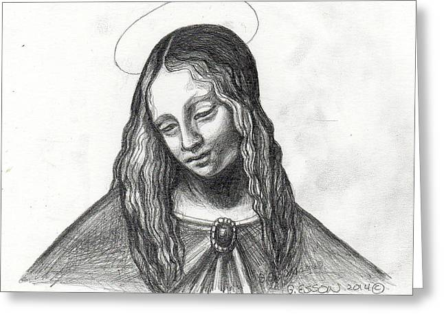 Spiritual Portrait Of Woman Greeting Cards - Mary After DaVinci Greeting Card by Genevieve Esson