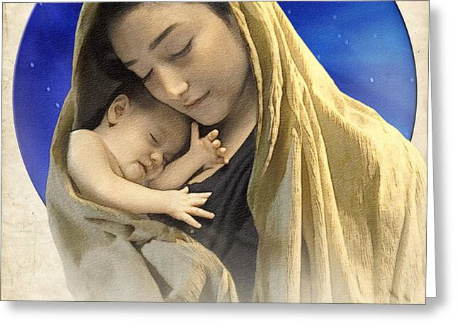 Mary and baby Jesus blue with quote Greeting Card by Ray Downing