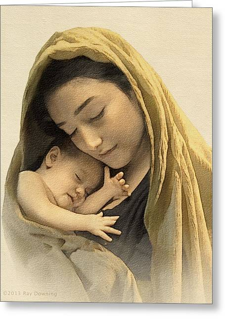 Bible Digital Art Greeting Cards - Mary and baby Jesus Greeting Card by Ray Downing