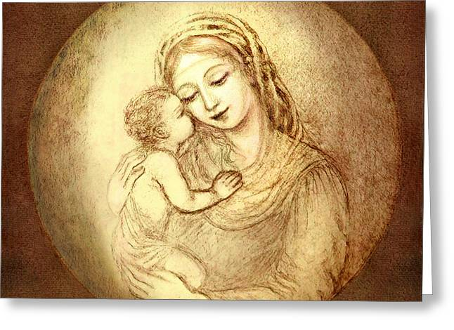 Christ Child Mixed Media Greeting Cards - Mary and Jesus Greeting Card by Ananda Vdovic