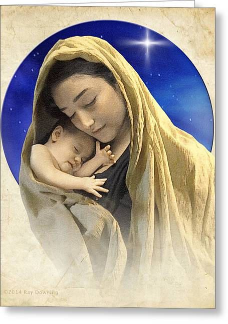 Ray Downing Greeting Cards - Mary and Jesus blue 2 Greeting Card by Ray Downing