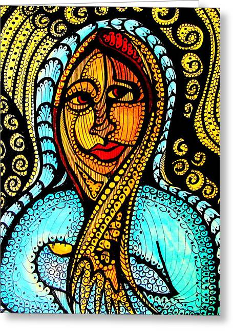 Reverence Drawings Greeting Cards - Mary and Jesus Greeting Card by Gerri Rowan