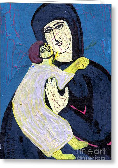 Pious Paintings Greeting Cards - Mary and The Baby Jesus Greeting Card by Genevieve Esson