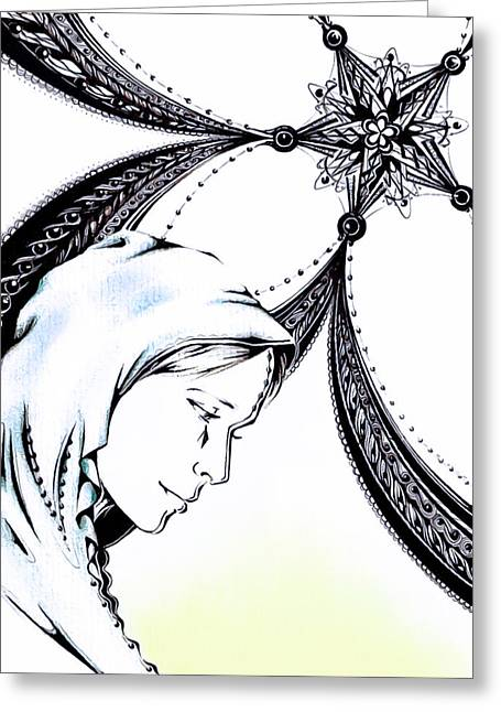 Virgin Mary Drawings Greeting Cards - Mary Greeting Card by Andrea Carroll
