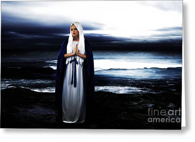 Sorrow Digital Art Greeting Cards - Mary by the Sea Greeting Card by Cinema Photography