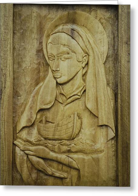 Puerto Rico Sculptures Greeting Cards - Mary Carving Greeting Card by Daniel P Cronin
