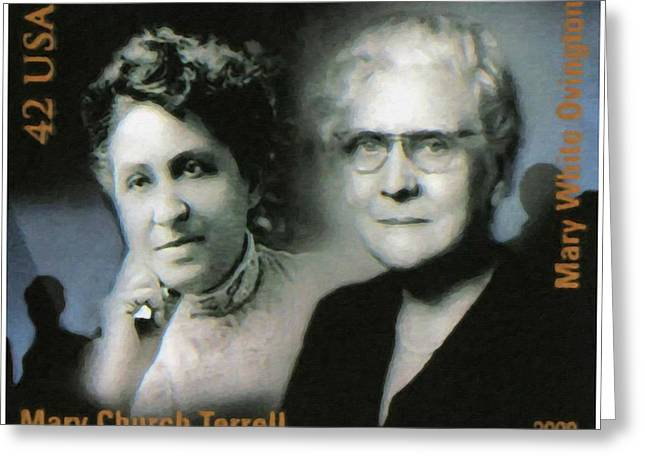 Abolition Paintings Greeting Cards - Mary Church Terrell and Mary White Ovington Greeting Card by Lanjee Chee