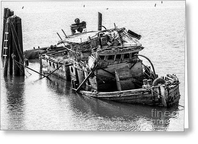 Historic Schooner Greeting Cards - Mary D Hume Shipwreck - Rogue River Oregon Greeting Card by Gary Whitton