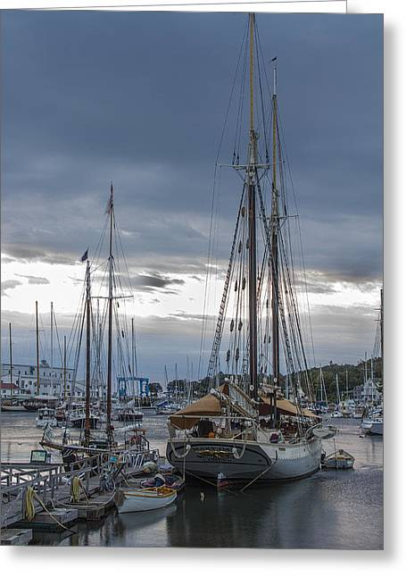 Schooner Greeting Cards - Mary Day at Dawn from the Stern Greeting Card by T C Hoffman