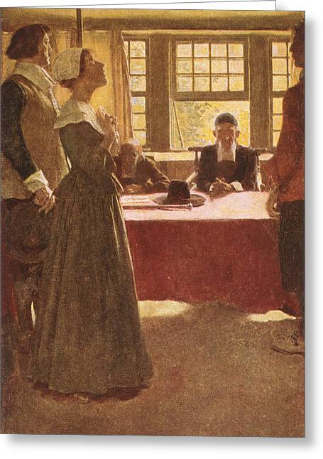 Quaker Greeting Cards - Mary Dyer Brought Before Governor Endicott, Illustration From The Hanging Of Mary Dyer By Basil Greeting Card by Howard Pyle