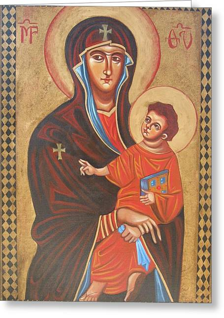Mary Help Of The Romans Paintings Greeting Cards - Mary Help of the Romans Greeting Card by Joseph Malham